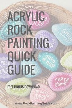 Acrylic Rock Painting Quick Guide offers beginner rock painting tips. Acrylic painting tips for rock painting. Primary Color Tips - Quick Guide. Acrylic rock painting how-tos. Rock Painting Supplies, Rock Painting Ideas Easy, Rock Painting Designs, Paint Designs, Stone Crafts, Rock Crafts, Diy Crafts, Adult Crafts, Garden Crafts