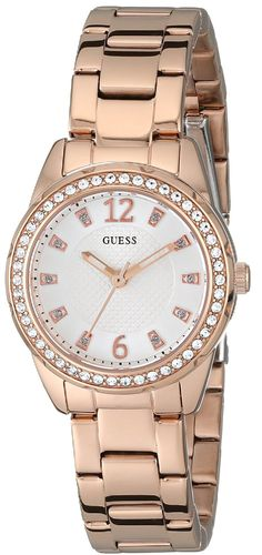 GUESS Women's U0445L3 Rhinestone-Accented Rose Gold-Tone Stainless Steel Watch ** Find out more about the great product at the image link.