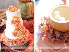fall wedding cake with orange and red