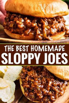 The BEST Homemade Sloppy Joes - The Chunky Chef Perfect for quick dinner, these family-favorite homemade sloppy joes are ready in 30 minutes or less! The silky rich sauce is ultra flavorful with a zesty kick! Beef Dishes, Food Dishes, Main Dishes, Homemade Sloppy Joes, Homemade Sloppy Joe Recipe, Easy Sloppy Joes, Homemade Manwich, Healthy Sloppy Joes, Slow Cooker Sloppy Joes