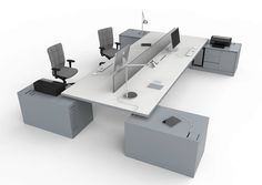 12 Office Desk Redo Ideas for you to renovate your Work space! Business Office Decor, Modern Office Desk, Corporate Office Design, Office Nook, Open Office, Office Walls, Bureau Design, System Furniture, Office Furniture