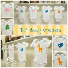 Quick and easy baby shower gift: DIY Baby Animal Graphic Heat Transfer Onesies