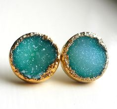 SALE XL Green gold dipped druzy stud earrings. $58.80, via Etsy.