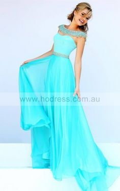 Short Sleeves Zipper Chiffon Scoop A-line Formal Dresses gjea70077