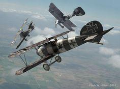 Lt. R.A. Cartledge (N.28 RFC) being pursued by Bruno Loerzer in an Albatros D.V