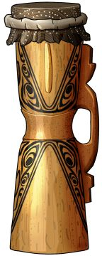 KUNDU DRUM Kundu is Papuan general name used for drum. It is a sandglass shaped drum made in wood with a snake's skin as membrane. A handle is placed on the narrowest part of the drum. Often, the kundu is decorated with animal figures on its edges. The handle is generally the most beautiful part decorated (openwork style). It must beat it to create sound. Kundu is used in number of occasions religious or civilian. For the Papuas the sound of the Kundu is the voice of the ancestors. This…