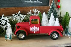 Vintage Trucks Vintage Inspired Christmas Decor - Creating Vintage Inspired Christmas Decor is easy to do with a few simple vintage inspired items and classic colors. Christmas Booth, Christmas Red Truck, Country Christmas, Vintage Christmas, Christmas Wreaths, Christmas Ornaments, Winter Christmas, Thanksgiving Decorations, Christmas Decorations