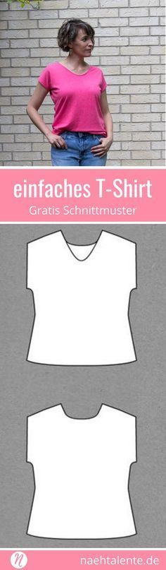 Women Clothing Freebook simple kimono style women's T-shirt sewing. ✂️ Nähtalente - The magazine for hobby cutters with pattern database ✂️ Free sewing pattern for easy women t-shirt. Diy Clothes Patterns, Sewing Clothes Women, Sewing Patterns Free, Free Sewing, Dress Patterns, Clothes For Women, Knitting Patterns, Woman Clothing, Motif Kimono