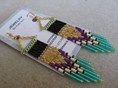 Seed Bead Earrings Modern Native American by pattimacs on Etsy, $20.00