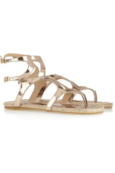 Jimmy Choo: Peachy metallic leather gladiator sandals(NET-A-PORTER.COM, $375) - rose-gold, glossy patent-leather, glam rock.