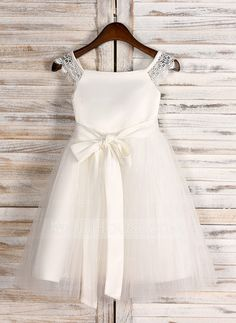 [US$ 45.99] A-Line/Princess Tea-length Flower Girl Dress - Satin/Tulle Sleeveless Square Neckline With Sash (010091712)