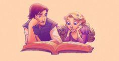 Tangled Flynn Rider/Eugene and Rapunzel reading Rapunzel And Eugene, Tangled Rapunzel, Disney Tangled, Disney Magic, Princess Rapunzel, Tangled Flynn, Disney And Dreamworks, Disney Pixar, Walt Disney