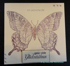 Eine Gruß- und Glückwunschkarte mit einem lila Schmetterling gestempelt Moth, Insects, Handmade, Animals, Purple Butterfly, Stamping, Cards, Hand Made, Animales