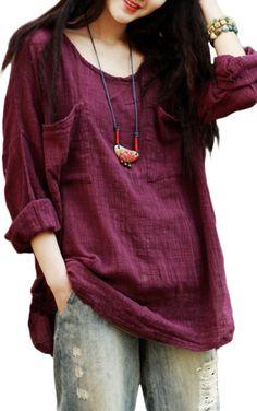 plum linen tunic