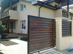 Imagini pentru gard lemn modern Front Gates, Facade House, Backyard Patio, Garage Doors, Modern, Garden, Outdoor Decor, Design, Home Decor