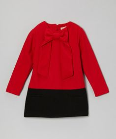 Take a look at this Red & Black Bow-Neck Wool-Blend Dress - Toddler & Girls by Paulinie on #zulily today!