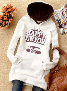 White Thick long-sleeved Sweatshirt$38.00