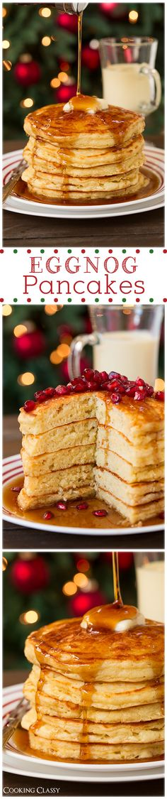 Eggnog Pancakes - these are delicious!! The perfect holiday breakfast!