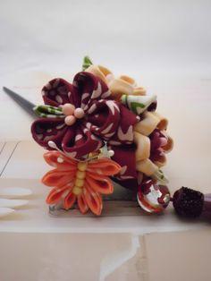 Plum Blossom BUTTERFLY maroon peach cream tsumami by JagataraArt, $30.00