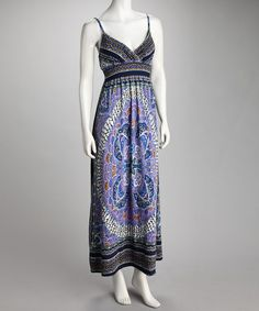Take a look at this Navy Floral Abstract Flower Surplice Maxi Dress by She's Cool on #zulily today!