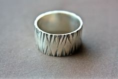 Wild Grass Textured Wide Band Silver Large by ManariDesign on Etsy, $79.00