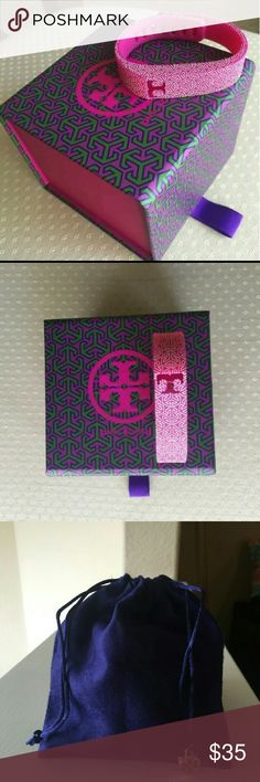 Tory Burch  Bracelet for a fitbit flex.   Size small.  Original style - does not include extra keeper near closure.  *screenshot on pic four not included. (Just added as an example of extra keepers/fasteners that you can purchase.)  NWT - includes beautiful Tory Burch box and velvet pouch Tory Burch Jewelry Bracelets