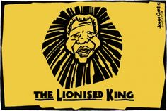 Nelson Mandela is celebrated in this Lion King parody cartoon by John Curtis. Nelson Mandela, The Lion Sleeps Tonight, Political Cartoons, Africa, Hero, Movie Posters, Editorial, Father, King