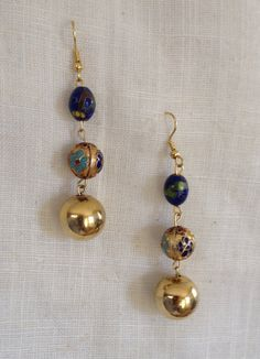 Dangle Earrings Cloisonné Beads  Upcycled Vintage by heartsoftoday, $15.00