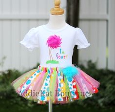 Personalized Dr. Seuss Lorax Inspired Boutique Fabric Tutu Skirt Birthday Outfit-Lorax birthday outfit, personalized, fabric sewn tutu, shirt
