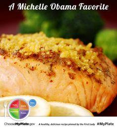 Baked Salmon Fillets Dijon #protein #myplate #myplatebirthday