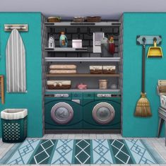 I hate how it looks with clutter right on top of the washers and dryers, so I raised up some shelves for an organized wash closet! Sims 4 Houses Layout, House Layouts, Sims 3 Houses Ideas, Tiny House Layout, Sims Ideas, Sims 4 House Plans, Sims 4 House Building, Sims 4 Kitchen, Sims 4 House Design
