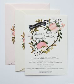 Custom Hand Painted Wedding Invitation Suite/ Set by firstsnowfall, $175.00