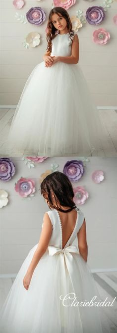 Neck Pearls A-line Tulle Satin Flower Girl Dresses Round Neck Pearls A-line Tulle Satin Flower Girl Dresses – ClaireBridalRound Neck Pearls A-line Tulle Satin Flower Girl Dresses – ClaireBridal Flower Girl Dresses Boho, Little Girl Dresses, Kids Lehenga, Victoria, Satin Flowers, Ladies Dress Design, Wedding Day, Wedding Things, Marie