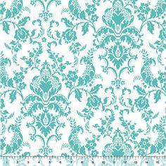Tiffany Blue Damask Cotton Jersey Blend Knit Fabric $6.10