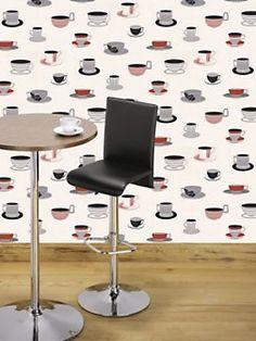 coffee and tea wallpaper Hot Teas, Tea Wallpaper, Coffee Nook, Graham Brown, Drinking Tea, Kids Fashion, Cold, Chocolate, Black And White