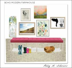 boho modern farmhouse entry | Abby Manchesky Interiors | pink bench with gallery wall