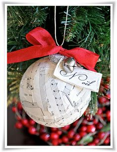 sheet music ball christmas