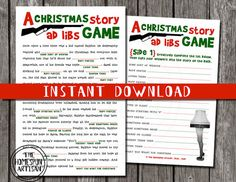Christmas Story Mad Libs Printable by TheHomespunArtisan... Don't worry, Ralphie won't shoot his eye out.