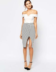 Love the Bardot Stripe Pencil Skirt With Asymmetric Hem on Wantering.
