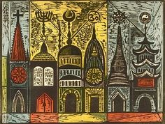 Irving Amen is a master printmaker. He is well known for his successful Lithographs, Screen Prints, Etchings and Woodcuts. A lot of his work has a Jewish theme, one masterpiece is his set of twelve windows at Congregation Agudas Achim in Columbus, Ohio depicting the Twelve Tribes of Israel.