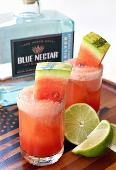 Watermelon Margarita Shooters are the perfect cocktail for your BBQ!