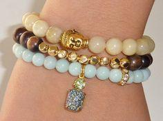 Amazonite Semiprecious Gemstone Beaded Bracelet with by rockstarsz, $26.99
