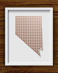 Copper Nevada Art Print, Faux Copper State Art Print - State Hearts, Nevada Hearts - Nevada Wedding Gift, Anniversary Gift