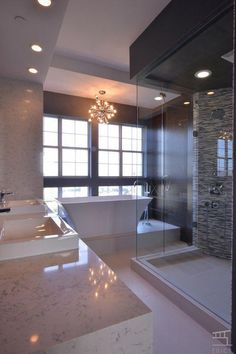 Contemporary Master Bathroom with Rain Shower Head, Complex Marble Tile, Dual shower heads, Handheld Shower Head, Dual sinks Dream Bathrooms, Contemporary Bathtubs, Contemporary Bathrooms, Contemporary Master Bathroom, Bathroom Decor, Bathroom Remodel Master, House, Luxury Bathroom, Diy Bathroom Remodel