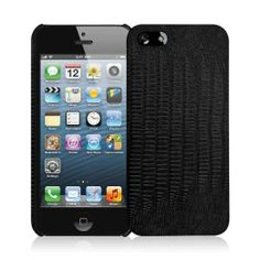 Apple iPhone 5/5S - Black Leather Croc (EMPIRE Klix Slim-Fit Hard Case)