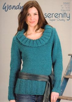"""Wendy Ladies Serenity Super Chunky Cowl Neck Sweater Easy Knit Pattern 5580 32"""" - 42""""(81-107 cm)"""