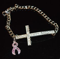 Sideways crystal cross bracelet with pink ribbon charm  Pink Ribbon / Breast Cancer Survivor Awareness / BRCA positive / Mastectomy / chemo gift / radiation gift / Fight like a girl / never give up / Rock Your Cause Jewelry