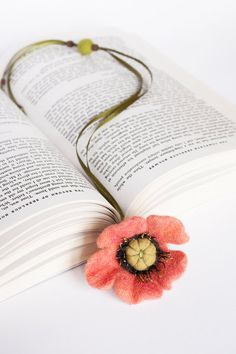 Needle Wet Felted Wool Bookmark  Coral Red Poppy  by LiviasDreams, $19.00