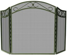 Uniflame® Arched 3-Panel Bronze Finish Wrought Iron Fireplace Fire Screen with Scrolled Top