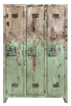 This distressed green cabinet from Out There Interiors is the perfect storage solution for a warehouse home, industrial conversion of loft space. The distressed finish gives it a really raw and edgy feel. Vintage Lockers, Metal Lockers, My Furniture, Vintage Furniture, Interior Design Inspiration, Home Decor Inspiration, Warehouse Home, Distressed Walls, Bone Crafts